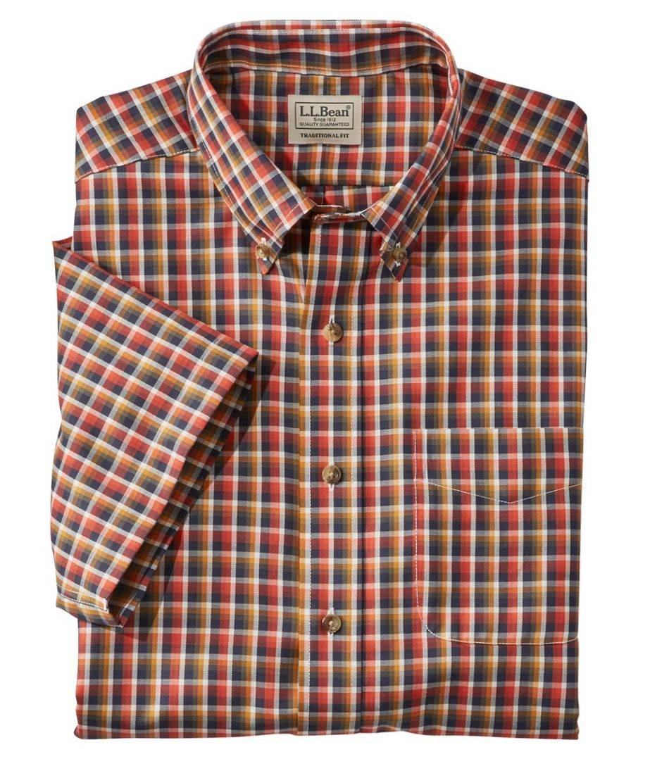 Wrinkle-Free Twill Sport Shirt, Traditional Fit Short-Sleeve Plaid