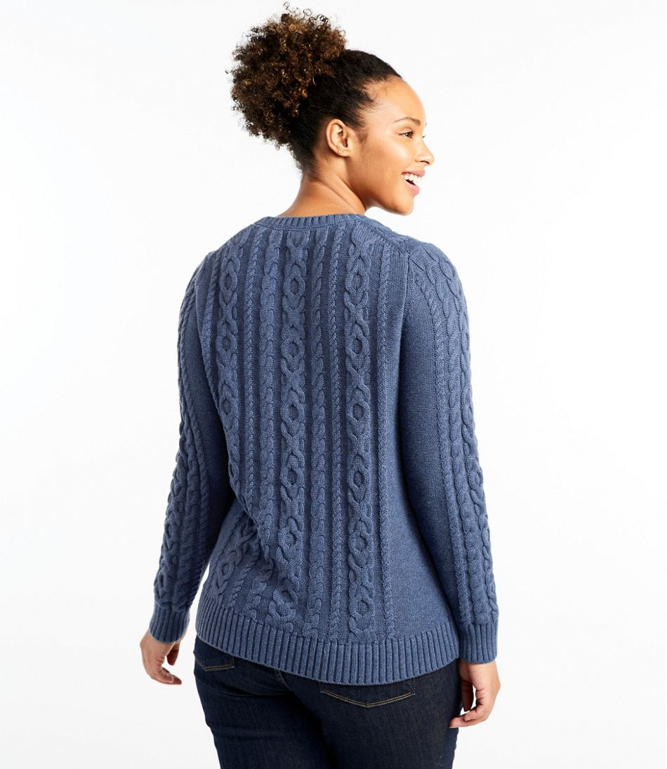Double L® Mixed-Cable Sweater, Crewneck