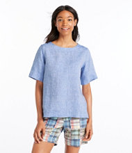 Premium Washable Linen Shirt, Button-Back Pullover Short-Sleeve