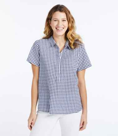 Women's Textured Cotton Popover Shirt, Short-Sleeve Gingham