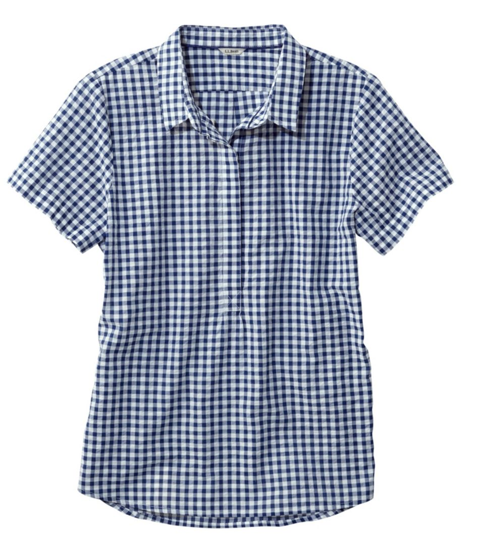Textured Cotton Popover Shirt, Short-Sleeve Gingham
