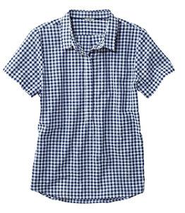 Women's Textured Cotton Popover Shirt, Short-Sleeve Gingham