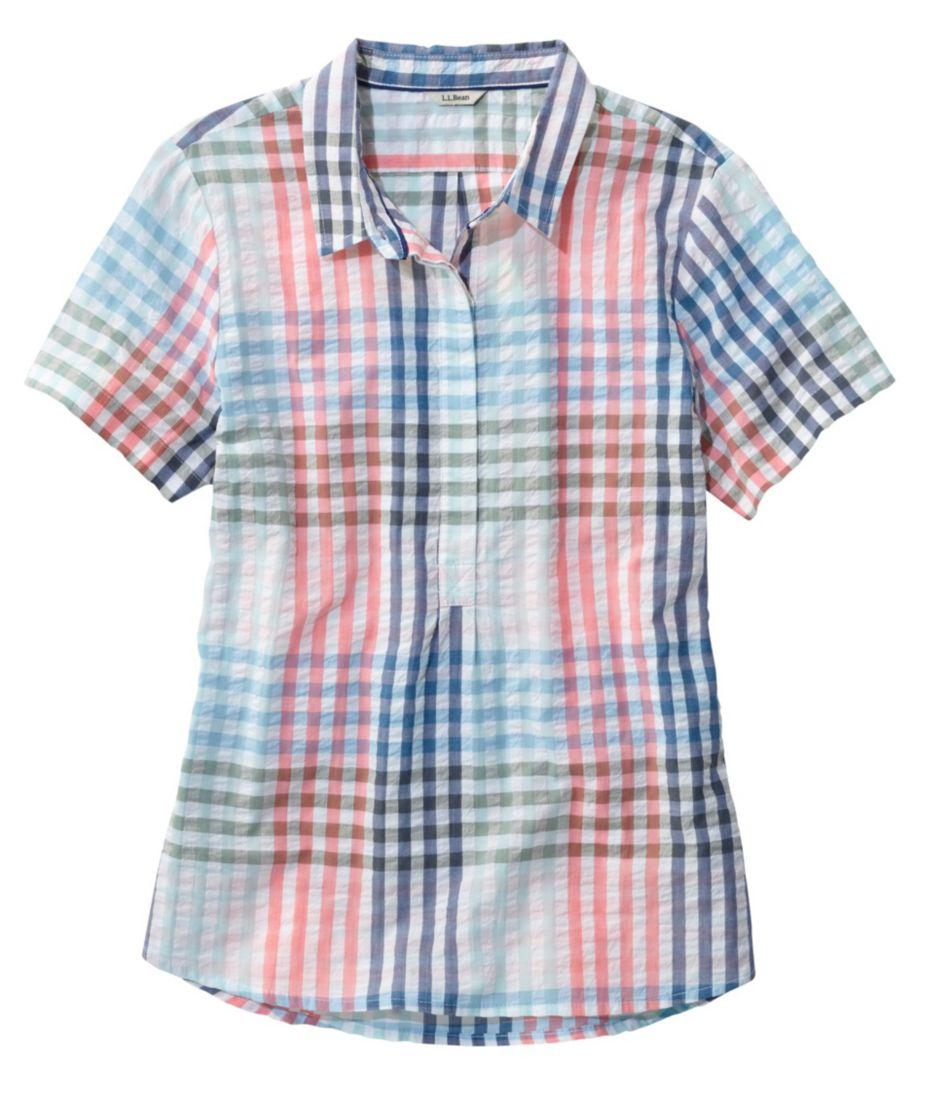 Textured Cotton Popover Shirt, Short-Sleeve Gingham