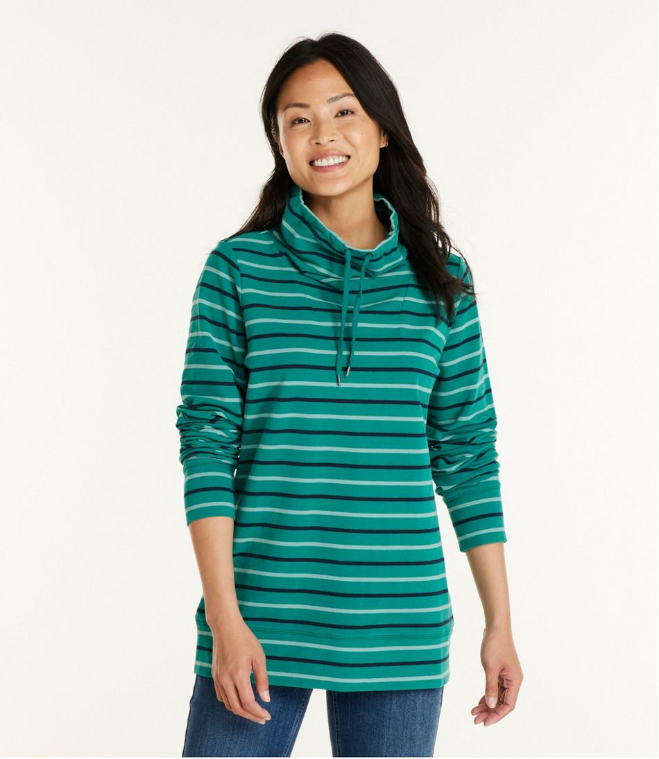 Women's Ultrasoft Sweats Funnelneck Pullover, Stripe