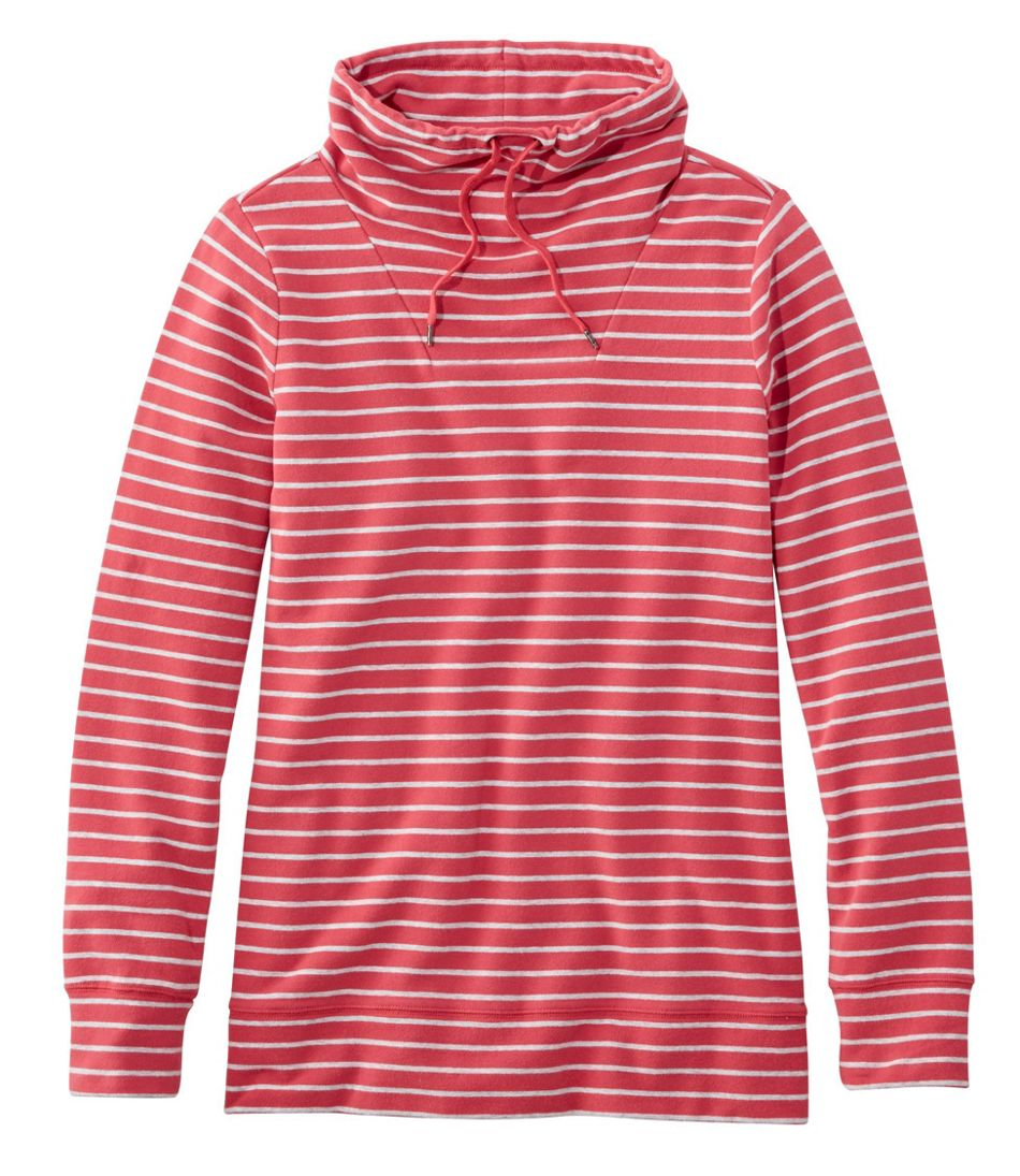 Ultrasoft Sweats Funnelneck Pullover, Stripe