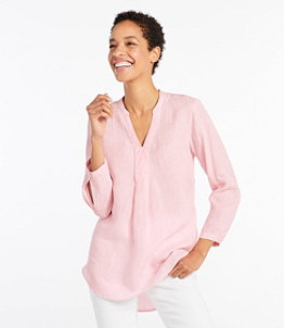 Women's Premium Washable Linen Shirt, Splitneck Tunic Long-Sleeve