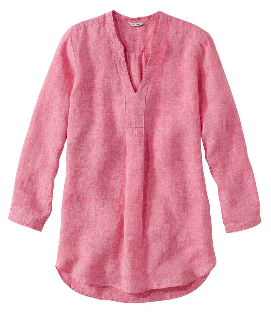 Women's Premium Washable Linen Shirt, Splitneck Tunic Long-Sleeve