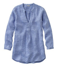 Premium Washable Linen Shirt, Splitneck Tunic Long-Sleeve