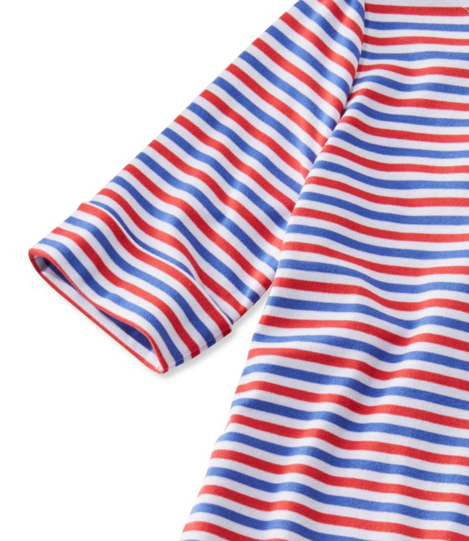 L.L.Bean Pullover, Elbow-Sleeve Square Boatneck Stripe