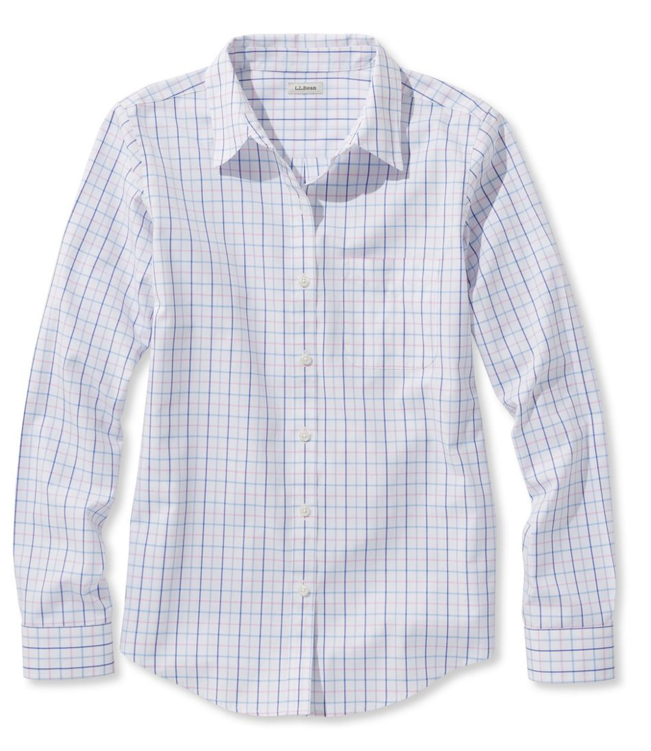 7bdb76c01 Women's Wrinkle-Free Pinpoint Oxford Shirt, Long-Sleeve Check