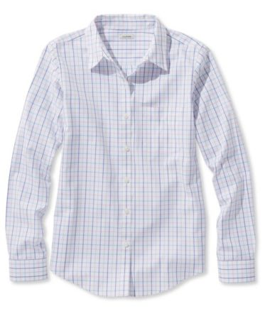 Wrinkle-Free Pinpoint Oxford Shirt, Long-Sleeve Check
