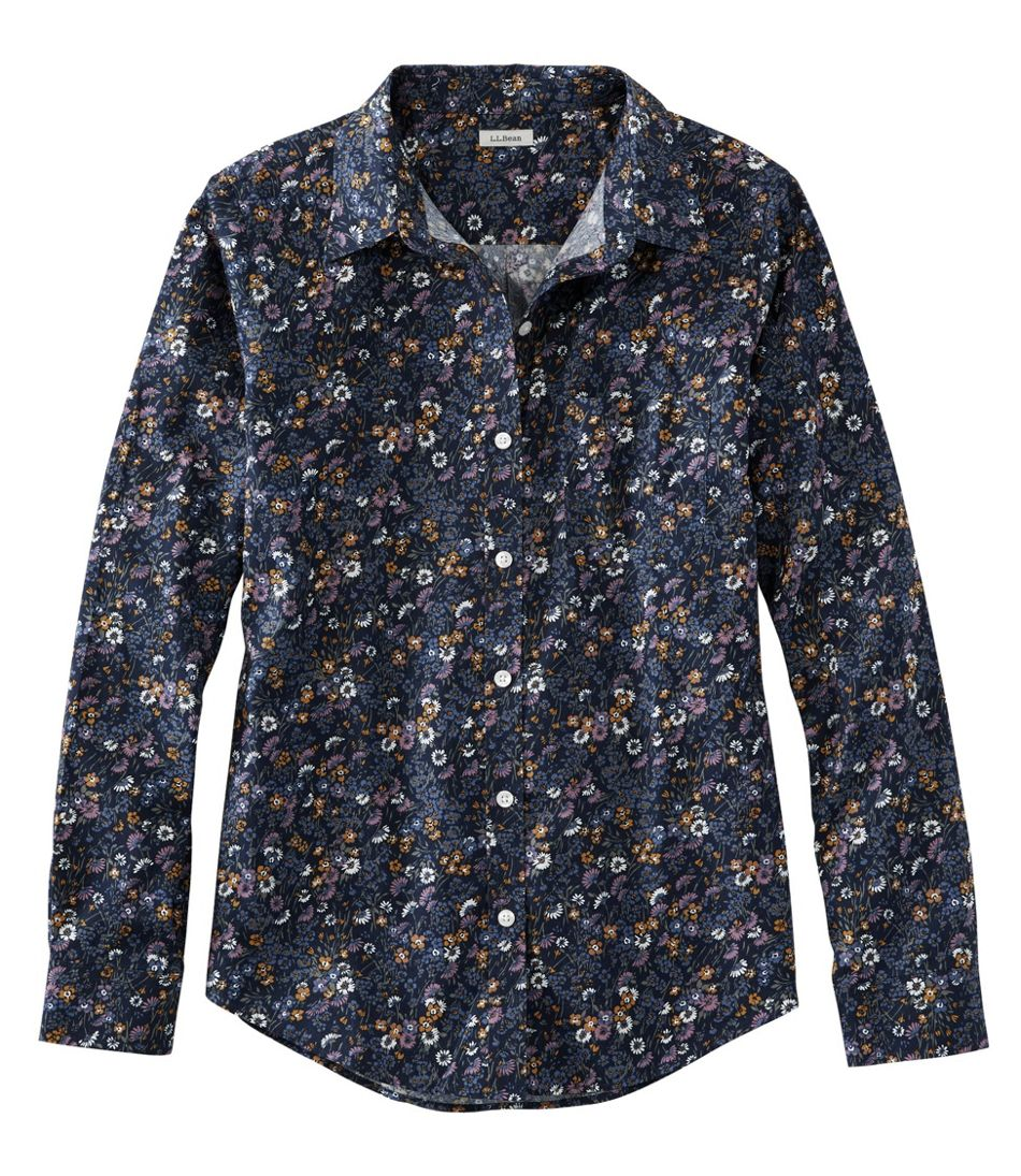 Wrinkle-Free Pinpoint Oxford Shirt, Relaxed Fit Long-Sleeve Print
