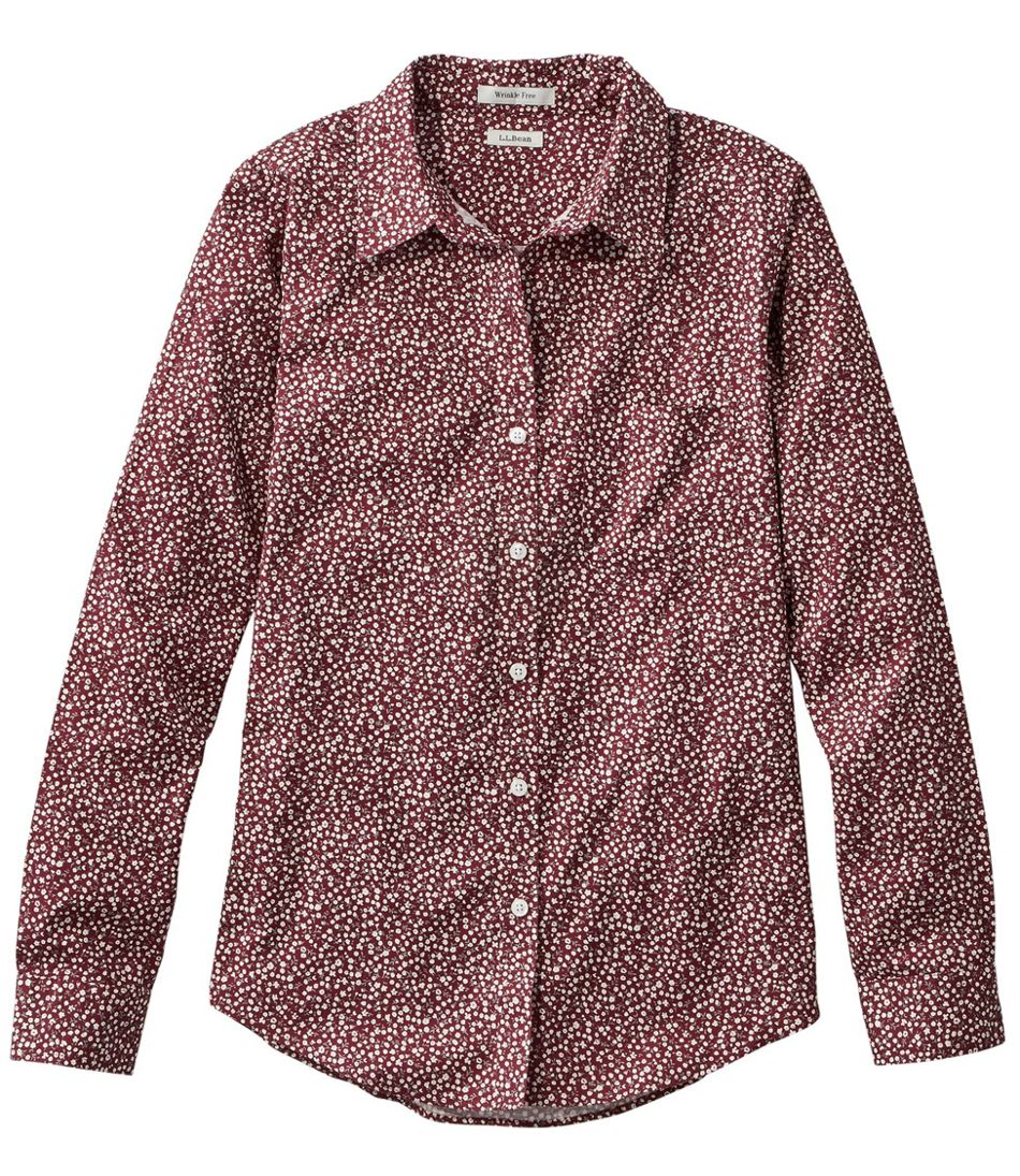 Women's Wrinkle-Free Pinpoint Oxford Shirt, Relaxed Fit Long-Sleeve Print
