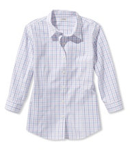 Wrinkle-Free Pinpoint Oxford Shirt, Three-Quarter-Sleeve Check