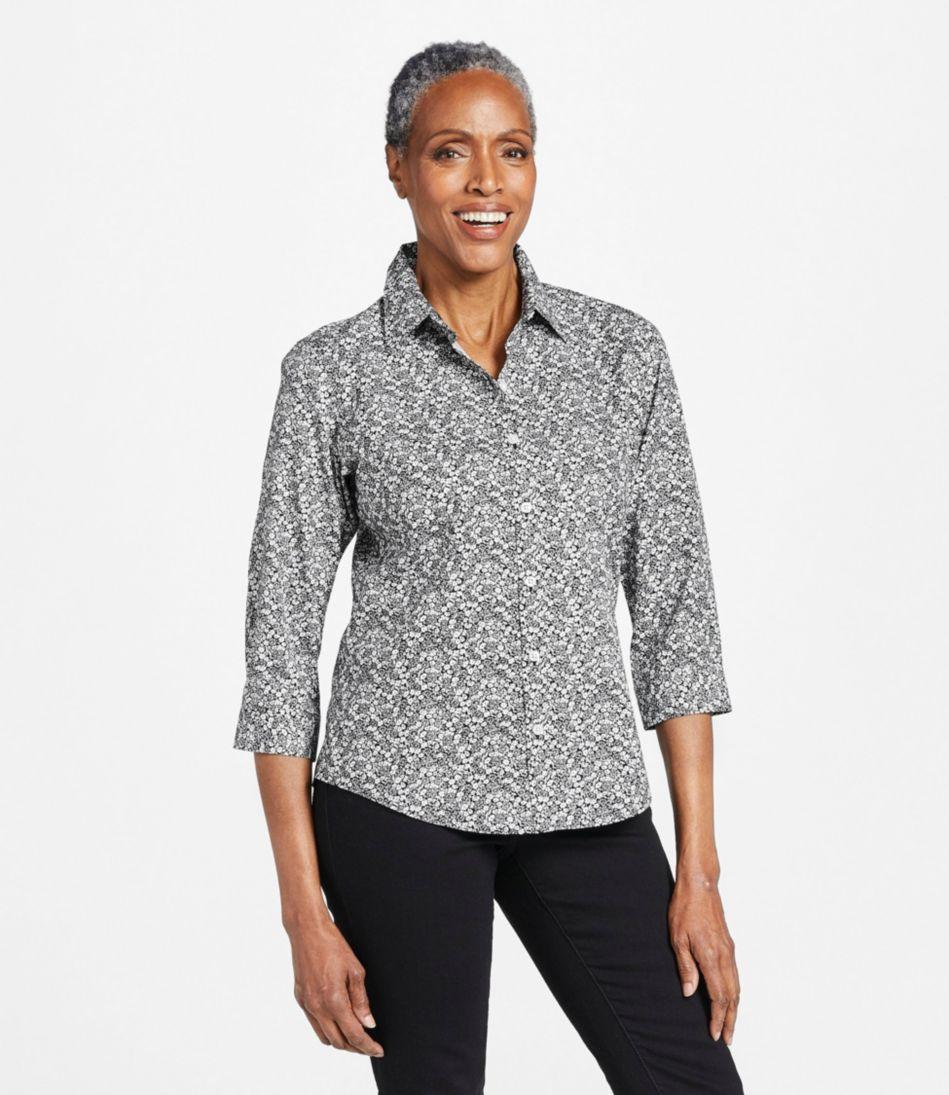 Wrinkle-Free Pinpoint Oxford Shirt, Three-Quarter-Sleeve Print