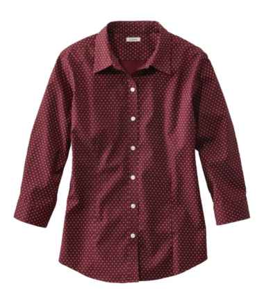 Wrinkle-Free Pinpoint Oxford Shirt, Three-Quarter-Sleeve Print