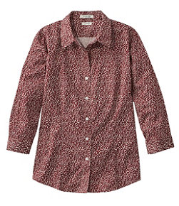 Women's Wrinkle-Free Pinpoint Oxford Shirt, Three-Quarter-Sleeve Print
