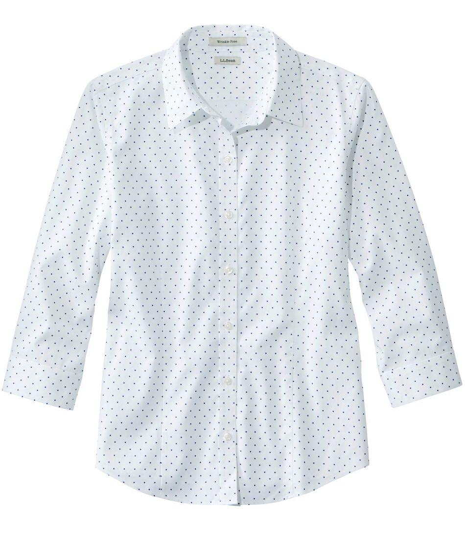 Women's Wrinkle-Free Pinpoint Oxford Shirt, Three-Quarter-Sleeve Print