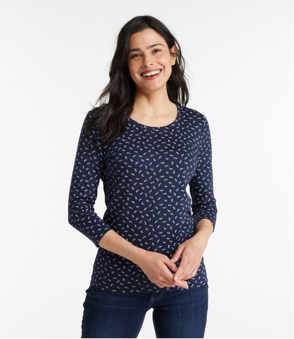 Women's Pima Cotton Shaped Jewelneck Tee, Three-Quarter-Sleeve Print