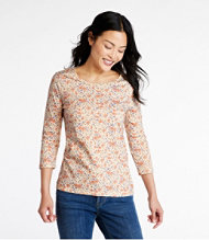 Pima Cotton Shaped Jewelneck Tee, Three-Quarter-Sleeve Print