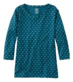 Women's Pima Cotton Shaped Jewelneck Tee, Three-Quarter-Sleeve Print