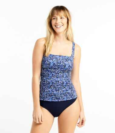 L.L.Bean Mix-and-Match Swimwear, Squareneck Tankini Print