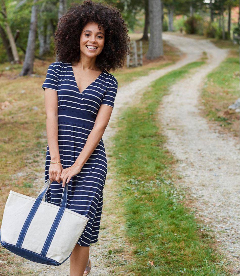 Summer Knit Dress, Short-Sleeve Stripe