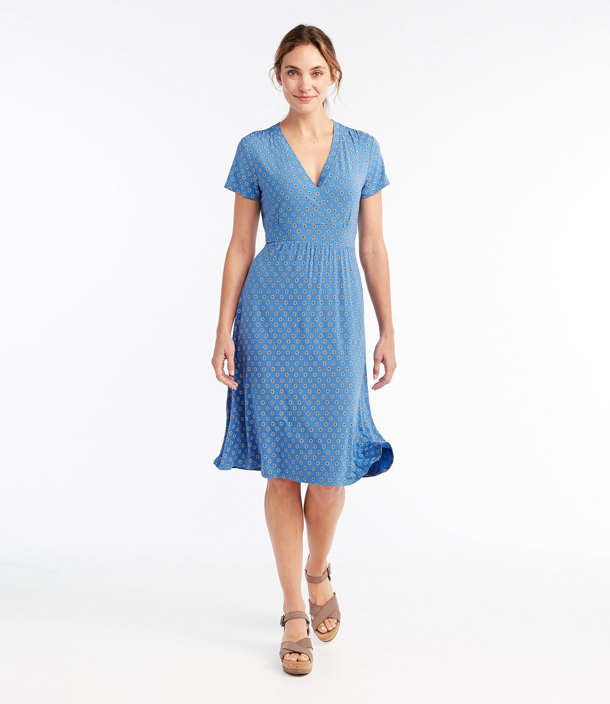 Summer Knit Dress, Short Sleeve Geo Print by L.L.Bean