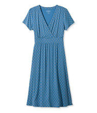 Women's Summer Knit Dress, Short-Sleeve Geo Print