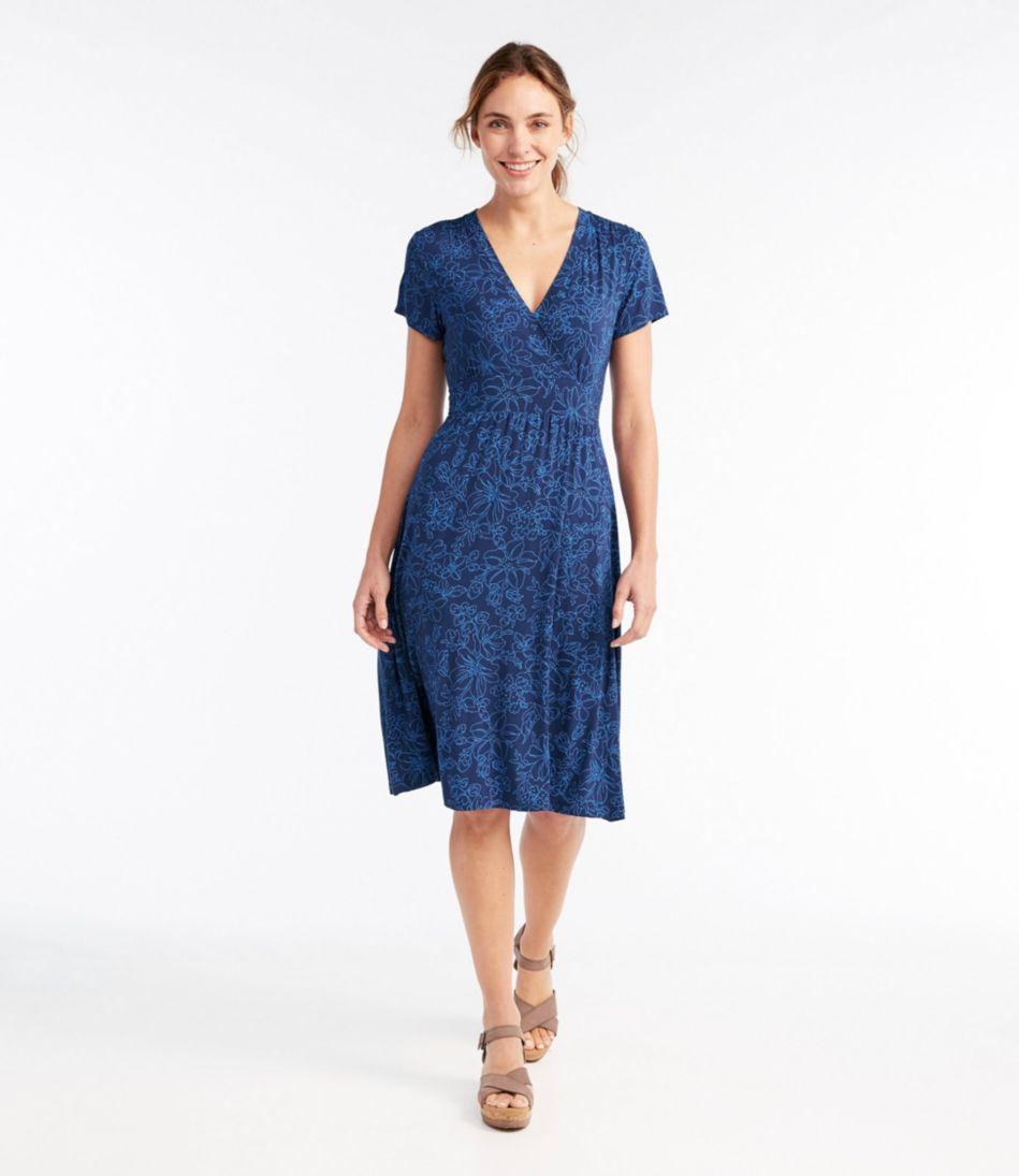 Summer Knit Dress, Short-Sleeve Floral Print