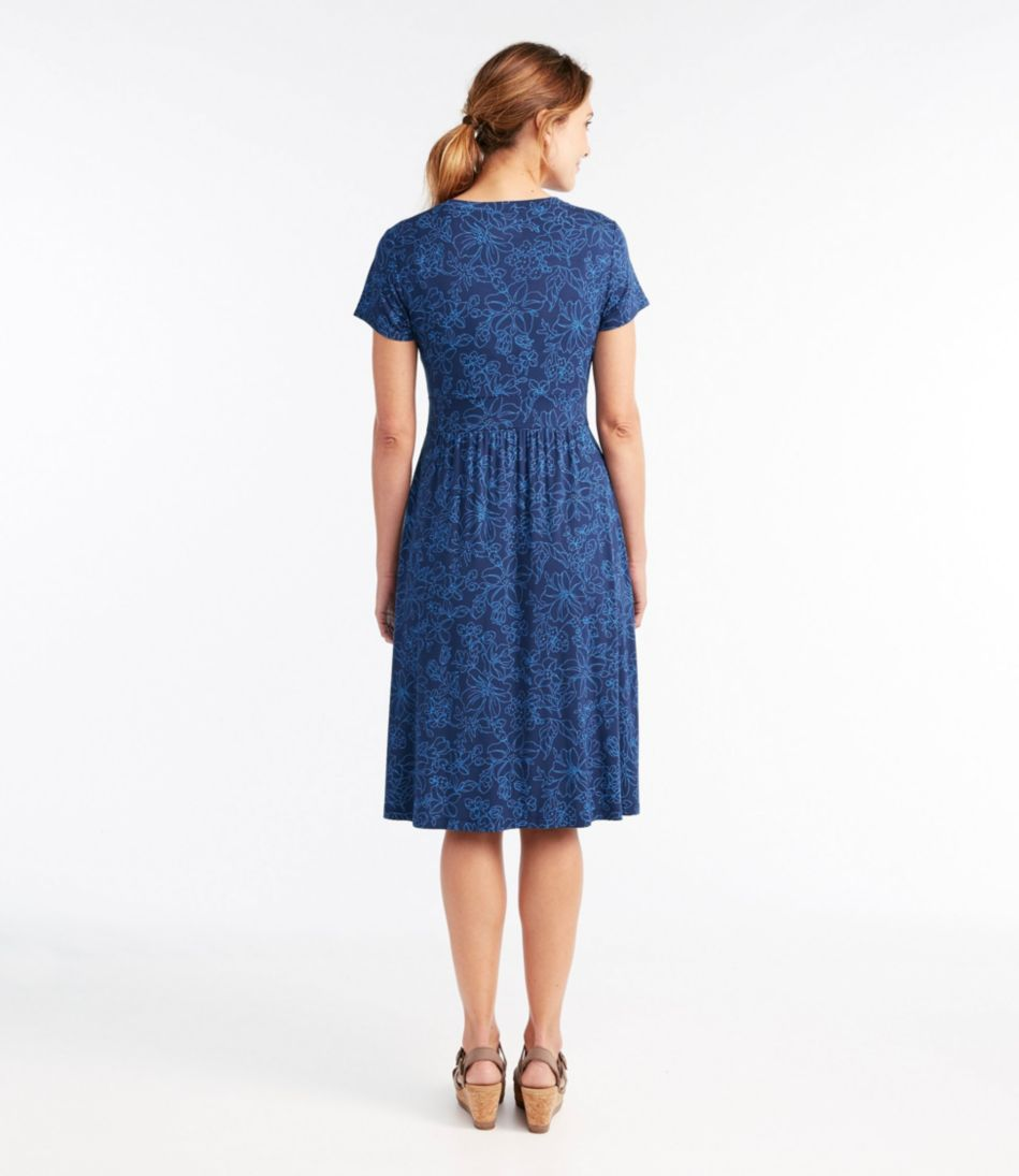 Summer Knit Dress, Short-Sleeve Floral Print