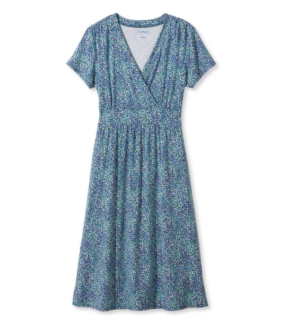 Summer Knit Dress, Short-Sleeve Multi-Floral Print