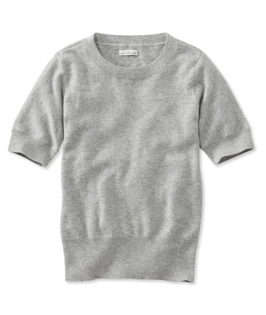 Signature Cashmere Sweater, Short-Sleeve