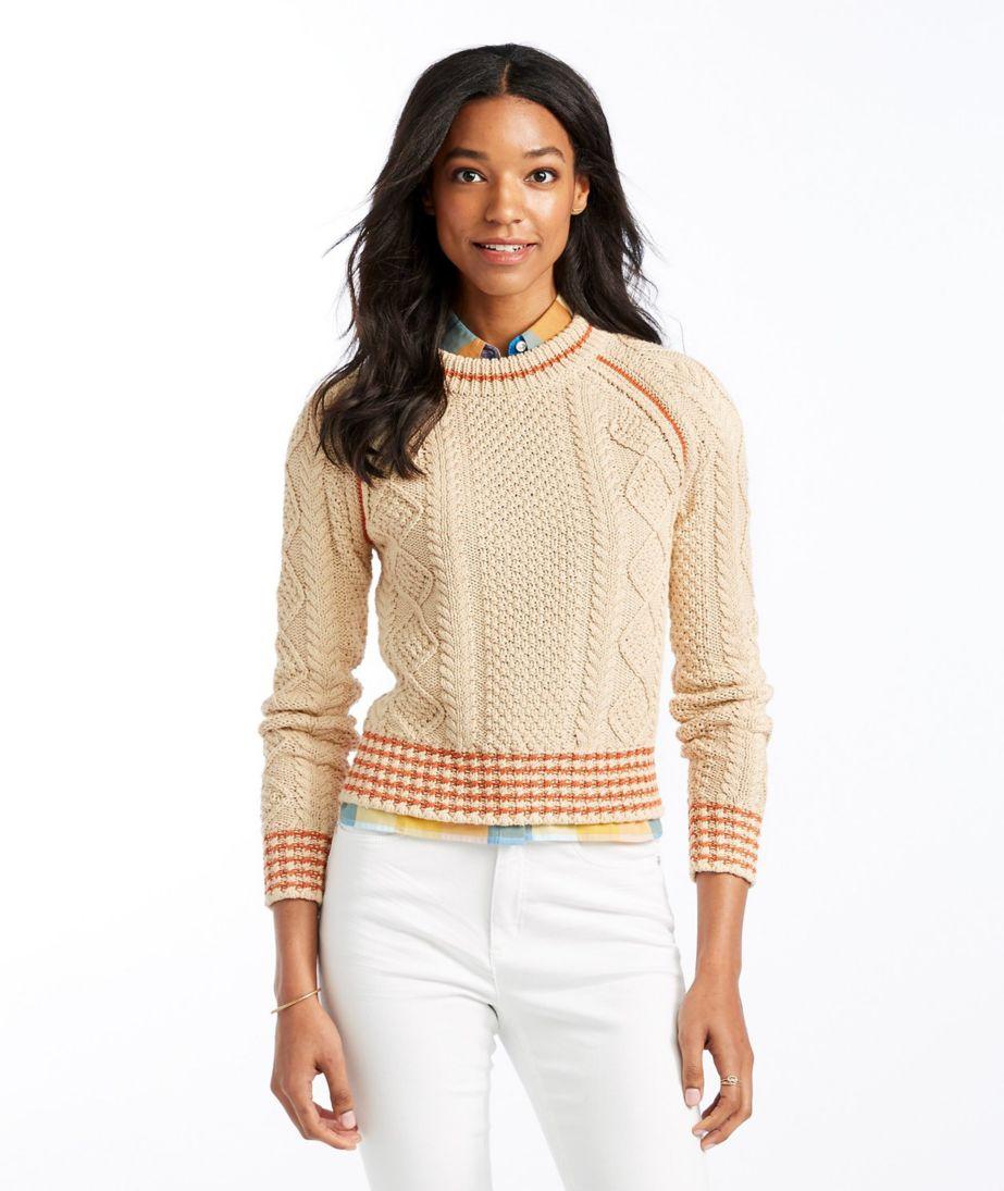 Signature Cotton Fisherman Sweater, Crewneck Tipped
