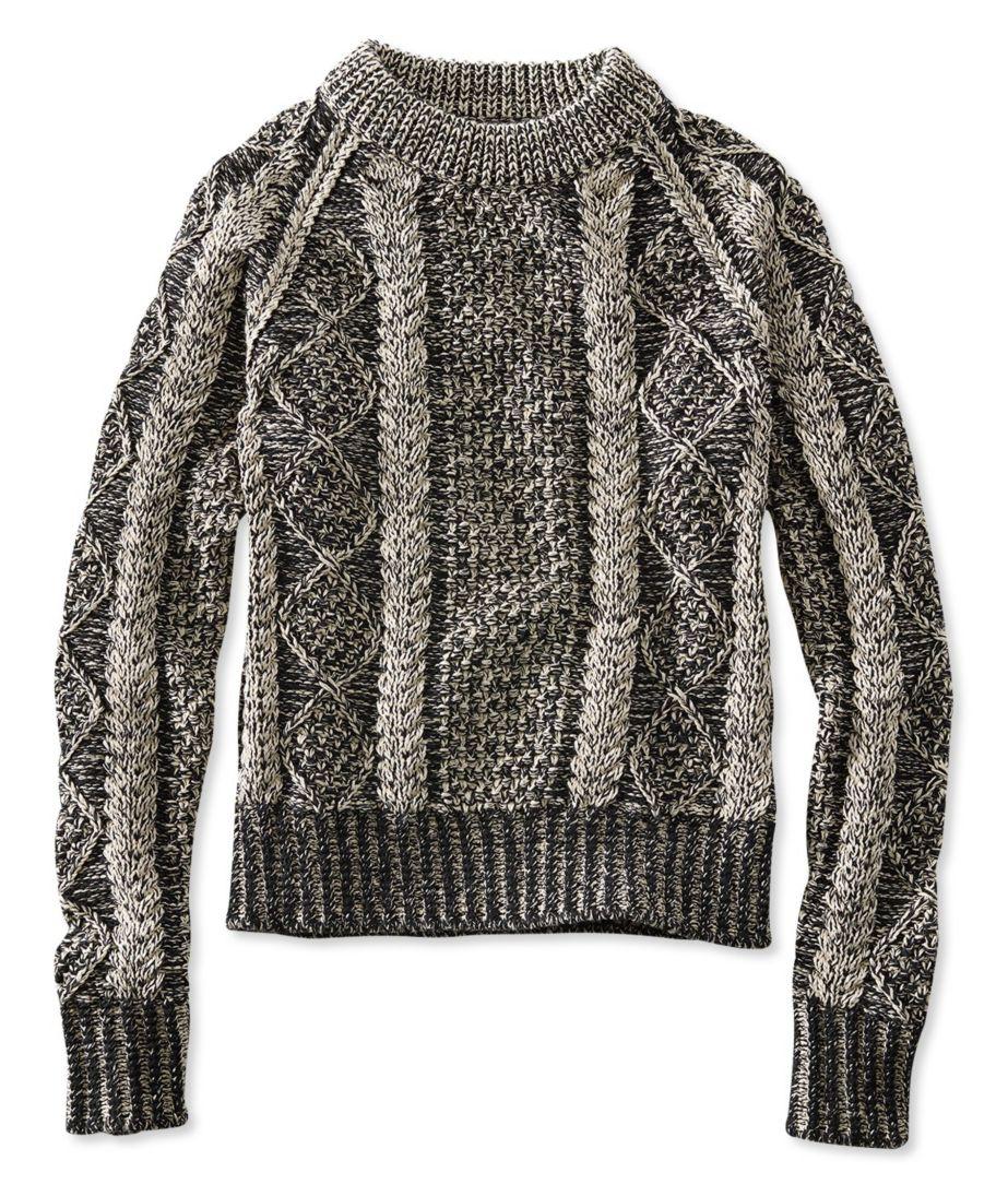 Signature Cotton Fisherman Sweater, Crewneck Plaited