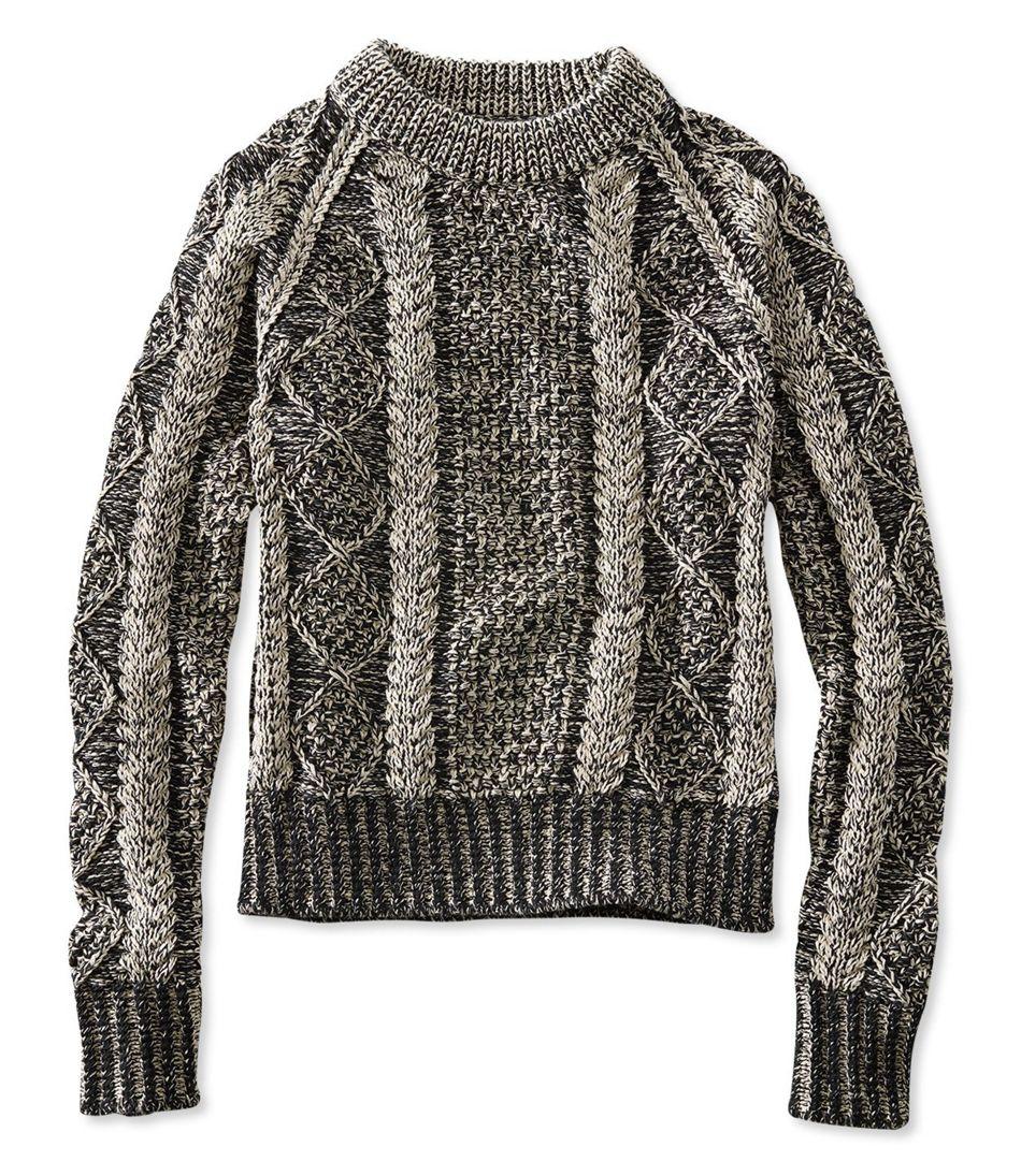 a81450263 Signature Cotton Fisherman Sweater, Crewneck Plaited