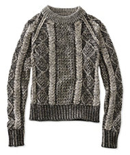 Signature Cotton Fisherman Sweater, Crewneck Plaited
