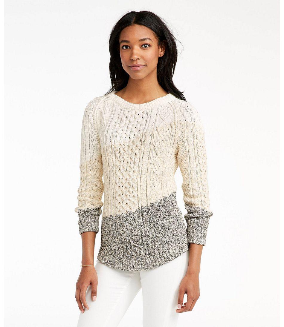 Signature Cotton Fisherman Tunic Sweater, Colorblock