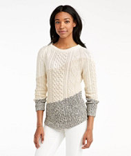 Signature Cotton Fisherman Tunic Sweater, Colorblocked