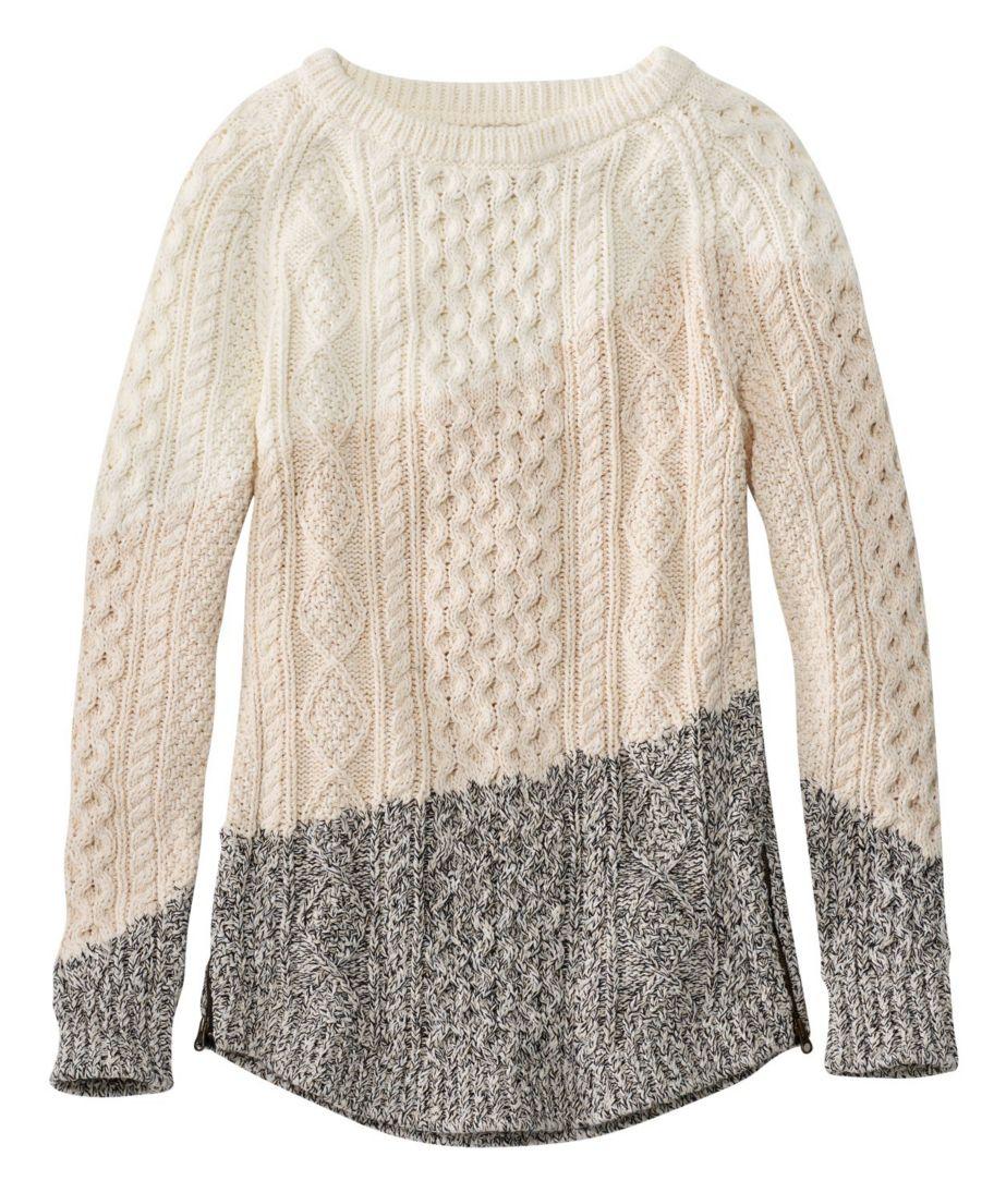 Women's Signature Cotton Fisherman Tunic Sweater, Colorblocked