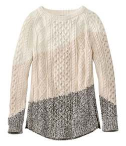 Women's Signature Cotton Fisherman Tunic Sweater, Colorblock