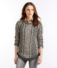 Signature Cotton Fisherman Tunic Sweater, Plated
