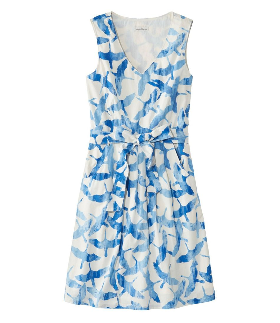 Signature V-Neck Poplin Dress, Print