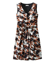 Women's The Signature V-Neck Poplin Dress, Print