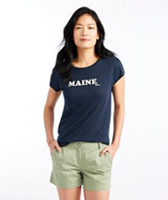 Signature Essential Knit Tee, Cap Sleeve Maine Print