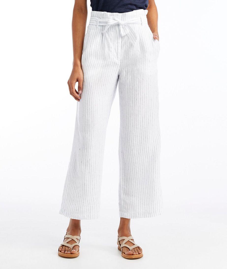 Signature Linen Wide-Leg Cropped Pants, Stripe