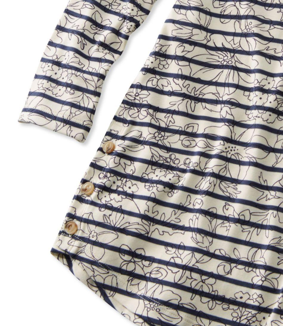 Pima Cotton Tee, Three-Quarter-Sleeve Side-Button Tunic Print