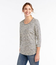 Pima Cotton Tee, Three-Quarter-Sleeve Side-Button Tunic Print