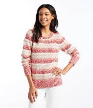 Women's Cotton Ragg Sweater, Marled Stripe