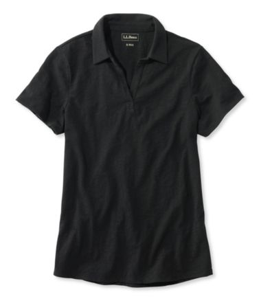 Organic Cotton Tee, Short-Sleeve Splitneck Polo